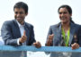 Indian badminton player and Olympic silver medalist P.V Sindhu (R)  and her coach P. Gopichand take part in a parade after arriving home from the Rio Olympics in Hyderabad on August 22, 2016.  India swelled with pride August 20 after badminton champion P.V. Sindhu became the first woman in the country's history to win an Olympic silver medal. / AFP / NOAH SEELAM        (Photo credit should read NOAH SEELAM/AFP/Getty Images)