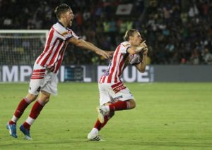 Javier Lara Grande of Atletico de Kolkata celebrates a goal during match 10 of the Indian Super League (ISL) season 3 between Mumbai City FC and Atletico de Kolkata held at the Mumbai Football Arena in Mumbai, India on the 11th October 2016. Photo by Vipin Pawar / ISL/ SPORTZPICS